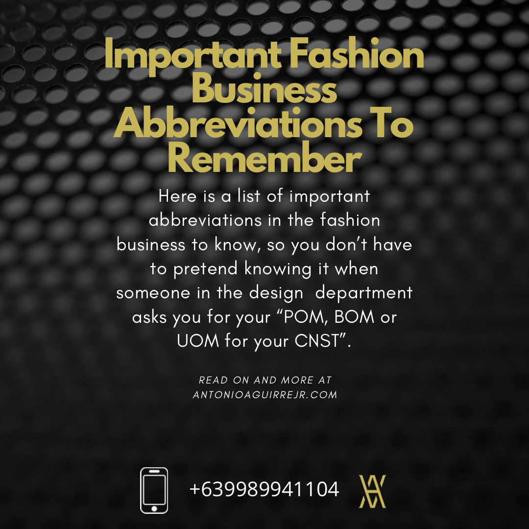 IMPORTANT FASHION BUSINESS ABBREVIATIONS TO KNOW